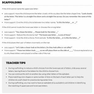 Activity scaffolds and teacher tips