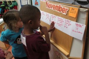 Photo of children looking and daily classroom calendar
