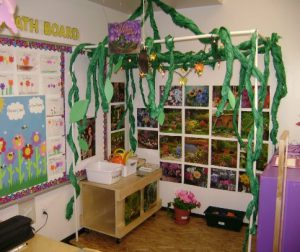 Picture of a classroom nursery theme using plants and garden items