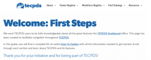 Image of the welcome webpage on TECPDS